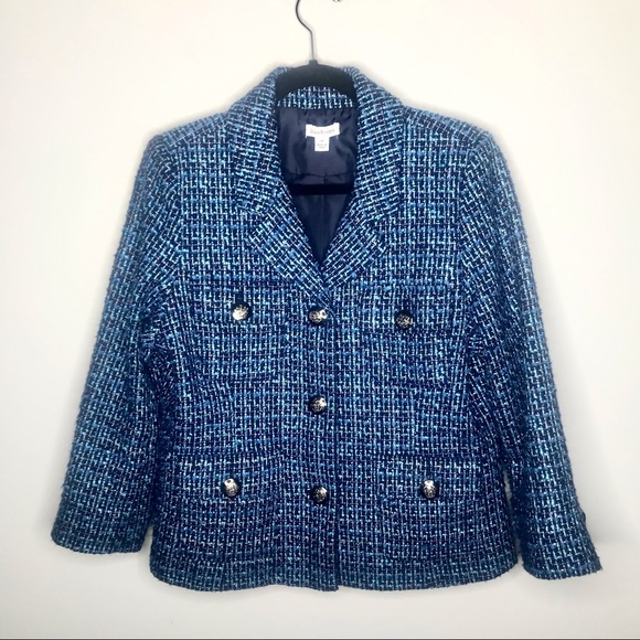 Joan Rivers Blue & Black Tweed Blazer Jacket 12